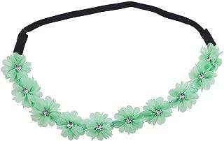 Lux Accessories Black Faux Ivory Grey Crystal Stone Floral Elastic Headwrap Headband