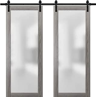 Sliding Double Barn Glass Doors 72 x 96 | Planum 2102 Ginger Ash | 13FT Rails Hangers Stops Hardware Set | Modern Solid Core Wood Interior Doors