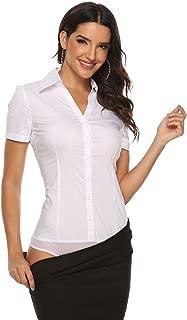 Soojun Women's Short Sleeve Button Down Career Shirt Bodysuit Blouse