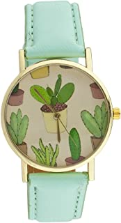 Lux Accessories Mint Goldtone Cactus PU Leather Plant Watch Face Kitschy