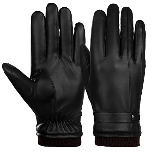 3cc9e5388be8d VBIGER Mens Gloves PU Leather Touch Screen Outdoor Winter Gloves