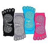 PUTUO Mujer Calcetines Pilates Yoga Antideslizantes, Mujer Cinco Calcetines de los Dedos para...