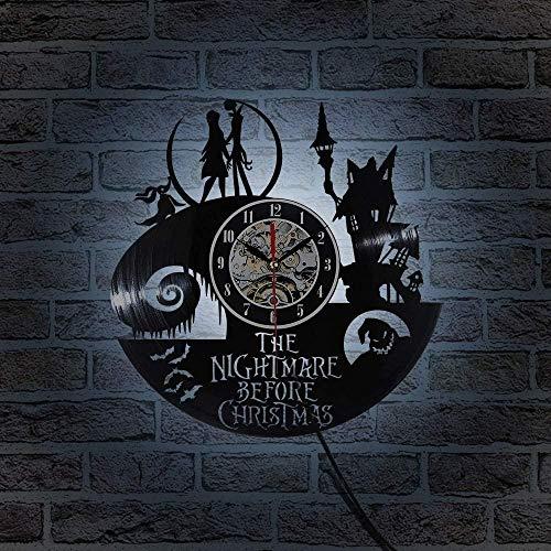 hxjie Pesadilla LED Vinilo LED Reloj de Pared Reloj de grabación de CD Antes de Navidad Antiguo Jack y Sally Reloj de Campana 3D