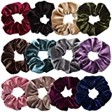 Scrunchies for Hair,12 Pcs Soft Hair Scrunchy Bobbles Elastic Hair Bands Ties Donut Hair Accessories for Women Ponytail Holder Velvet Vintage Scrunchies (Dark Color Series,12 Colors)