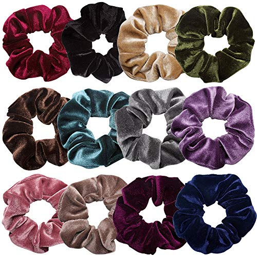 Scrunchies for Hair,12 Pcs Soft Hair Scrunchy Bobbles Elastic Hair Bands Ties Donut Hair Accessories for Women Ponytail Holder Velvet Vintage Scrunchies (Dark Color Series,12 Colors)