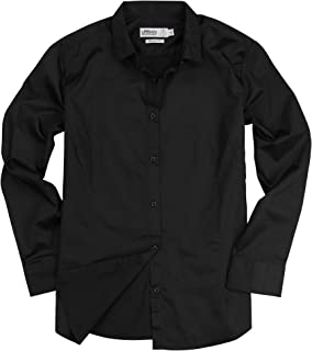 Womens Basic Tailored Long Sleeve Cotton Button Down Work Shirt