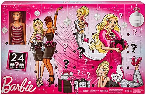 Barbie Calendrier de l'Avent Fourni avec Poupée Blonde en maillot de Bain Rayé et 24 Accessoires Surprises, Jouet pour Enfant, GFF61