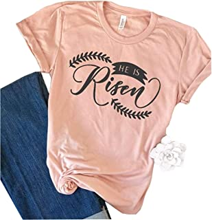 Christian Easter Shirt He is Risen Easter T-Shirt Women Letter Print Religious Tees Shirt Scripture Tops