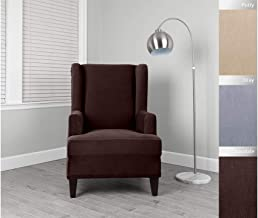 """Serta   StretchGrid Slipcover for Wingback Chairs Fits Seat Widths up to, 32"""" and 45"""" Tall, Machine Washable, Chocolate"""