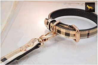 Leather Paws Plaid Berry Designer Leather Collar