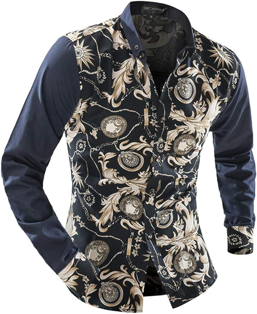 Men's Shirt Fashion Casual Classic Ethnic Style Print Simple Joker Long Sleeve Shirt Shirt
