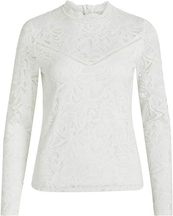 Vila Vistasia L/S Lace Top-Noos Camisa Manga Larga para Mujer