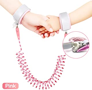 Anti-Lost Child Safety Walking Hand Leash, Ladash Reflective Wrist Link with Lock for Toddlers, Babies & Kids, Comfortable & Rotate 360 Wrist Band to Keep Child Nearby (Pink, 2M)