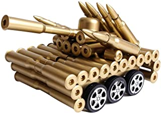 Singeek Bullet Shell Casing Shaped Army Tank Metal Sculpture with Functional Wheels,Great Decorative Artwork Model Gift for Home,Study Room Decorations (6 Wheels Tank)