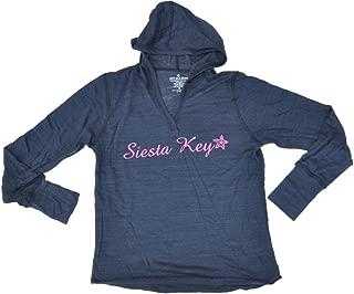 Siesta Key, Florida SAAG Women Navy Tri-Blend Long Sleeve Hooded T-Shirt