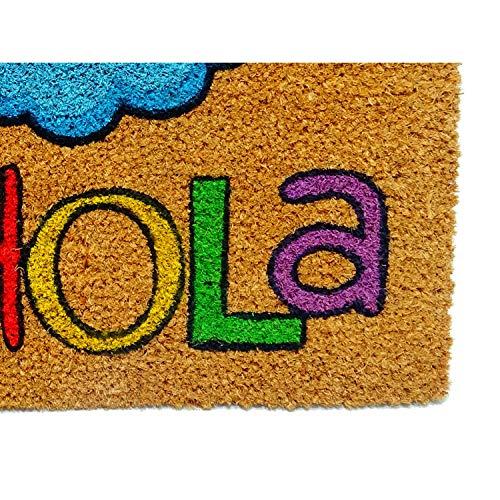 Koko DOORMATS felpudos Entrada casa Originales y Divertidos, Felpudo Coco y PVC, Felpudo Original Hola Arcoiris, 40x60x1.5 cm   Felpudo Entrada casa Exterior para Puerta, terraza o jardín,