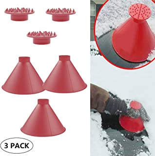 Cone-Shaped Round Windshield Ice Scraper Magic Scraper Car Windshield Snow Scrapers, Magic Funnel Snow Removal Shovels Tool (3 Pack red)