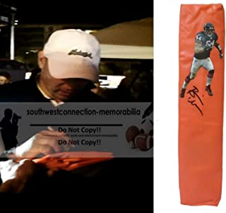 Brian Urlacher Chicago Bears Autographed Signed Full Size Photo Football Touchdown End Zone Pylon with Exact Proof Photo of Signing and COA- UNM University of New Mexico Lobos