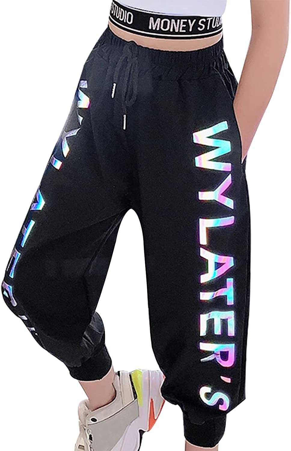 easyforever Girls Sparkly Letters Print Sweat Pants High Waist Elastic Waistband Cropped Trousers with Drawstring