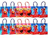 "12 Sesame Street Elmo Party Gift Bags. 12 bags are mixed with 3 different designs. Bag Inside Dimension: 7.5 x 3.25 x 8""."
