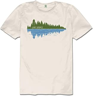 Soul Flower Men`s Live Simply Organic Cotton Short Sleeve T-Shirt - Off-White Crew Neck Tee for Men and Women