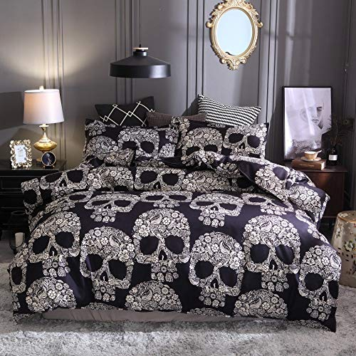 BH-JJSMGS 3D printed skull duvet cover with zipper closure, mandala and skull bedding, with 2 pillowcases, 228 * 228cm (three-piece set) A