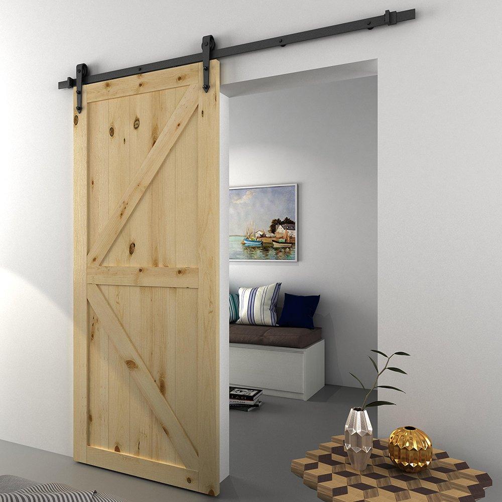 Juego de accesorios para puerta corredera de madera de granero de acero inoxidable antiguo de 1,8 m, color negro: Amazon.es: Bricolaje y herramientas