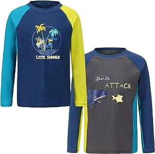 Kids Swim Shirt Boys Long Sleeve Rash Guard Shirts UPF 50+/Sun Protetion Swimsuits