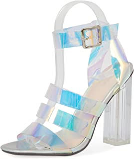 JSUN7 Women's Fashion Ankle Strap Clear Instep Open Round Toe Summer Clear Chunky Block Heel Sandal Pump Shoe