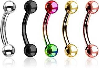 Forbidden Body Jewelry Value 5-Pk: 16g 8mm Surgical Steel Curved Barbells for Daith/Eyebrow/Rook and More
