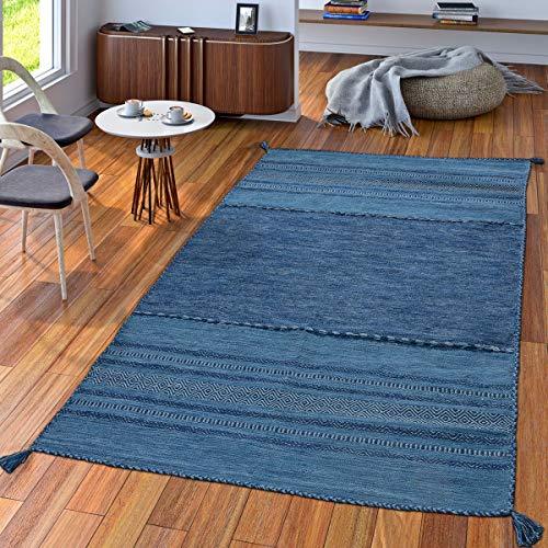 TT Home Handwebteppich Wohnzimmer Natur Webteppich Kelim Modern Baumwolle Streifen Blau, Größe:120x170 cm