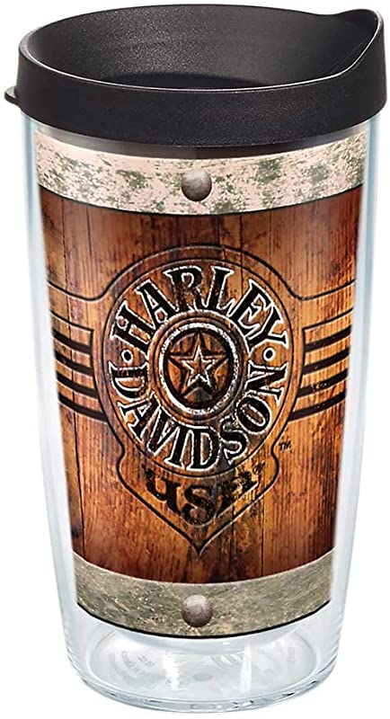 Tervis 1287281 Harley Davidson Burnt Wood Insulated Tumbler With Wrap And Black Lid 16oz Clear