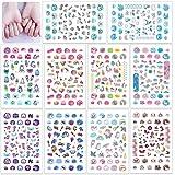 HOWAF 560+ Unicornio Nail Art Stickers Calcomanías Niñas, Unicornio 3D Uñas Art Pegatinas Autoadhesiva Decorativas para Niñas Niño Unicornio Cumpleaños Maquillaje Artículos Decoración Manicura