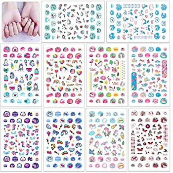 HOWAF 560+Designs Unicorn 3D Nail Art Stickers Decals Rainbow Unicorn Nail Sticker Self-adhesive Nail Toe Manicure Tip Decorations Designs for Kid Girls Women DIY Nail Tip Makeup Decoration