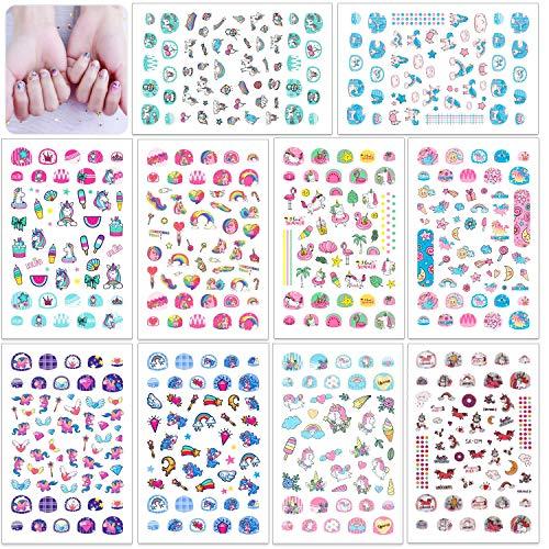 HOWAF 560+pcs Einhorn 3D Nagelsticker Selbstklebend, Einhorn 3D Nail Art Stickers Nagelaufkleber Nagel Abziehbilder für Mädchen Einhorn Kindergeburtstag Geschenktüten Mitgebsel Make-up Dekoration