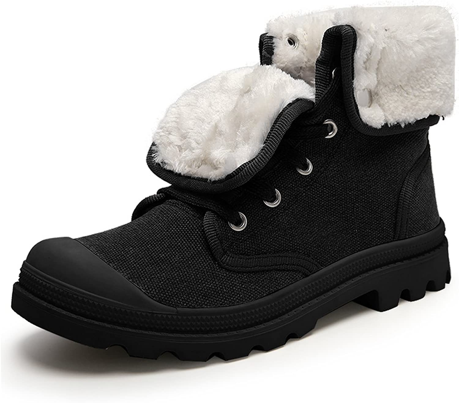 GOMNEAR Men Snow Boots Hiking shoes Lightweight Winter High Top AntiSlip Fur Lined Warm Canvas Sneaker