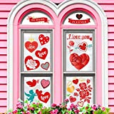 Whaline Valentine's Day Window Clings Decorations, Heart Static Stickers Window Decal for Party Decorations Supplies