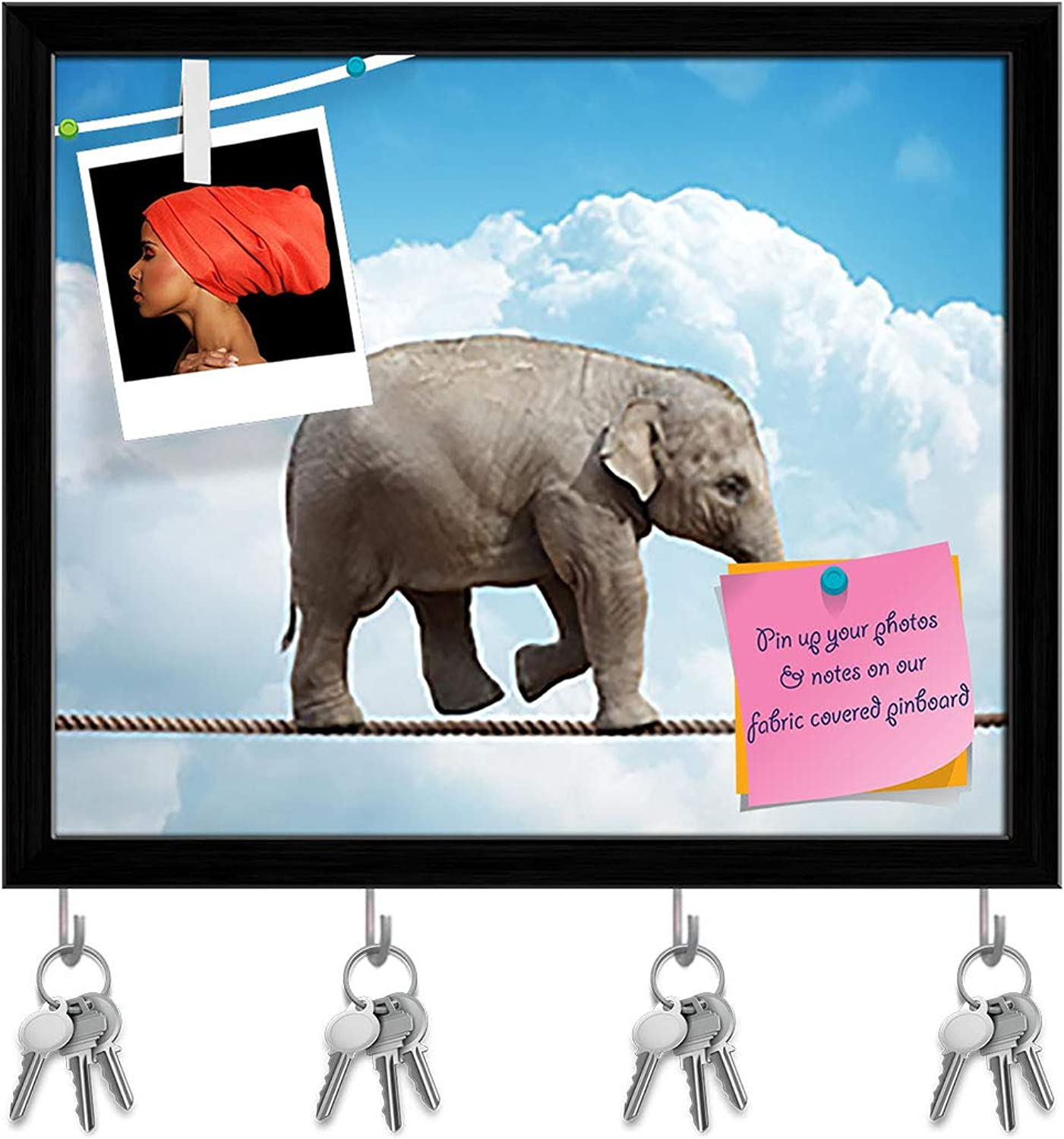 Artzfolio Elehant Calf Balancing On Rope Key Holder Hooks   Notice Pin Board   Black Frame 19.3 X 16Inch