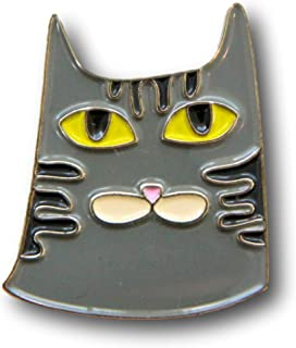 Grey Tabby Cat Enamel Pin, Cute and Perfect Accessory for Backpack, Jacket, Lapel, or Hat
