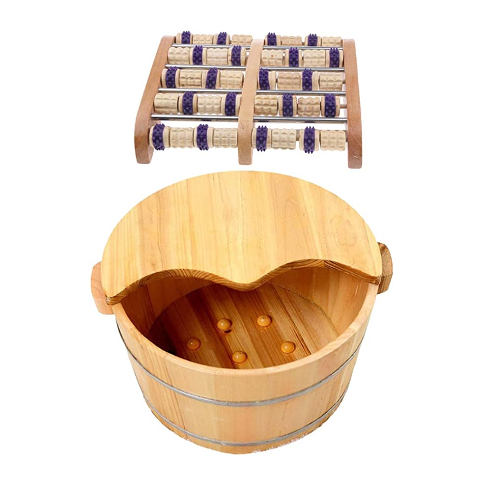ミシンレンダー配分Fenteer 足つぼマッサージ 手作りウッドマッサー フット ローラー 足裏刺激 血行促進 木製の足の洗面台付き