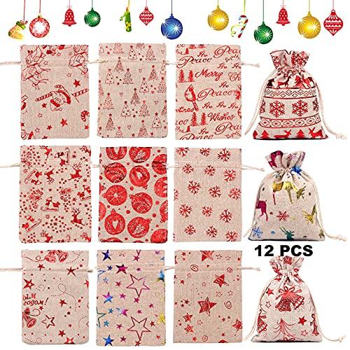 Bolsas Regalo Con Cordón Navidad Set 12 Piezas Saco De Joyería De...
