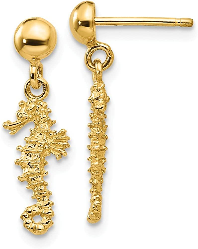 14k Yellow Gold 3 D Mini Seahorse Drop Dangle Chandelier Post Stud Earrings Animal Sea Life Fine Jewelry For Women Gifts For Her