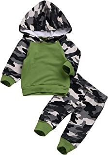 Unistylo Newborn Baby Infant Camouflage Outfits Clothes for Kids Boys Hoodies Tops+Pants Casual Outdoor 0-24M