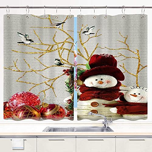 BOKEKANG Cortinas para Ventana de Cocina,Muñeco de Nieve Red Xmas Ball Birds,Cortinas Cortas con Decoración de Ganchos para Baño,Paquete de 2,140x100cm