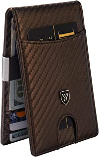 Mens Slim Wallet with Money Clip Made of Carbon Fiber Leather