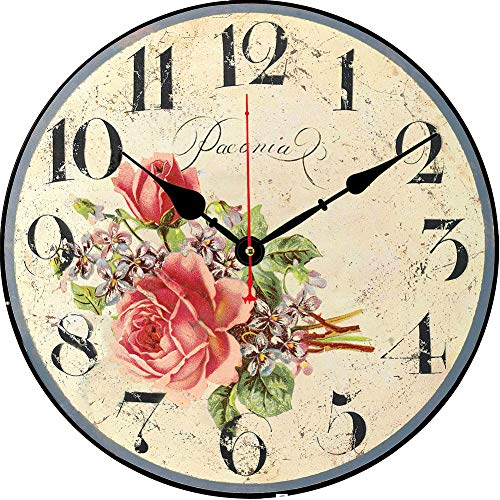BERYART 14 Inch Silent Non-Ticking Flowers Design Wall Clock Round Wooden Wall Clocks Battery Operated Indoor Vintage Clock for Kitchen,Living Room,Bedroom,Dining Room,Office and School