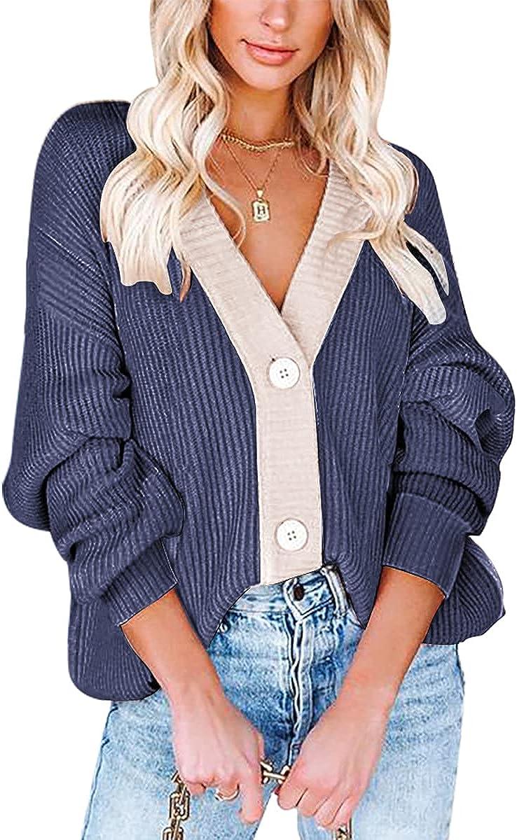 Yousify Women Button Cardigan Sweater Long Sleeve Chunky Oversized Fall Tunic Sweaters
