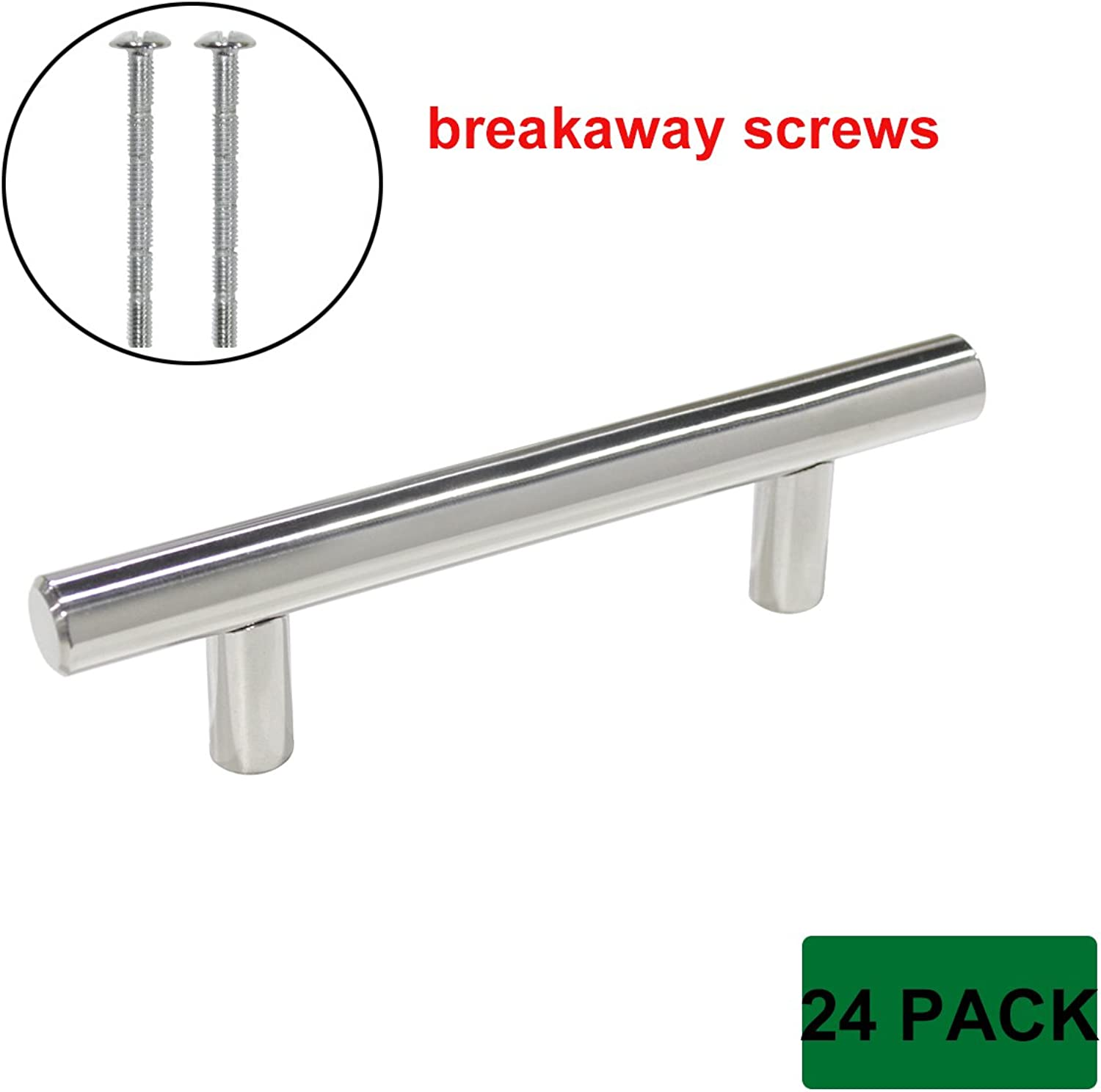 Probrico 24 Pack 3 inch Center to Center Polished Chrome Kitchen Cabinet Drawer Pull T Bar Dresser Handles, Breakaway Screws Included
