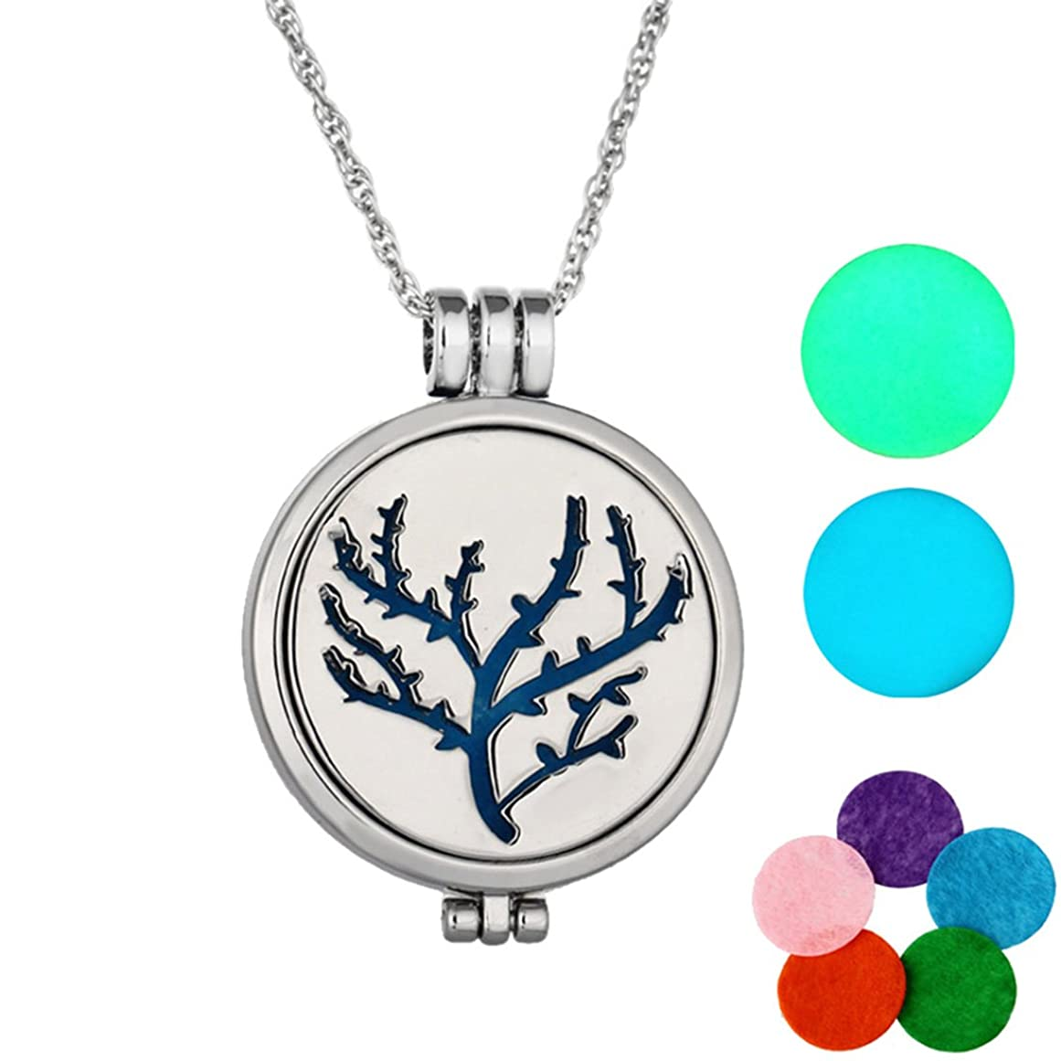 フィードリッチ旅行MJARTORIA Tree of Lifeグローin theダークAromatherapy Essential Oil Diffuserロケットペンダントネックレス