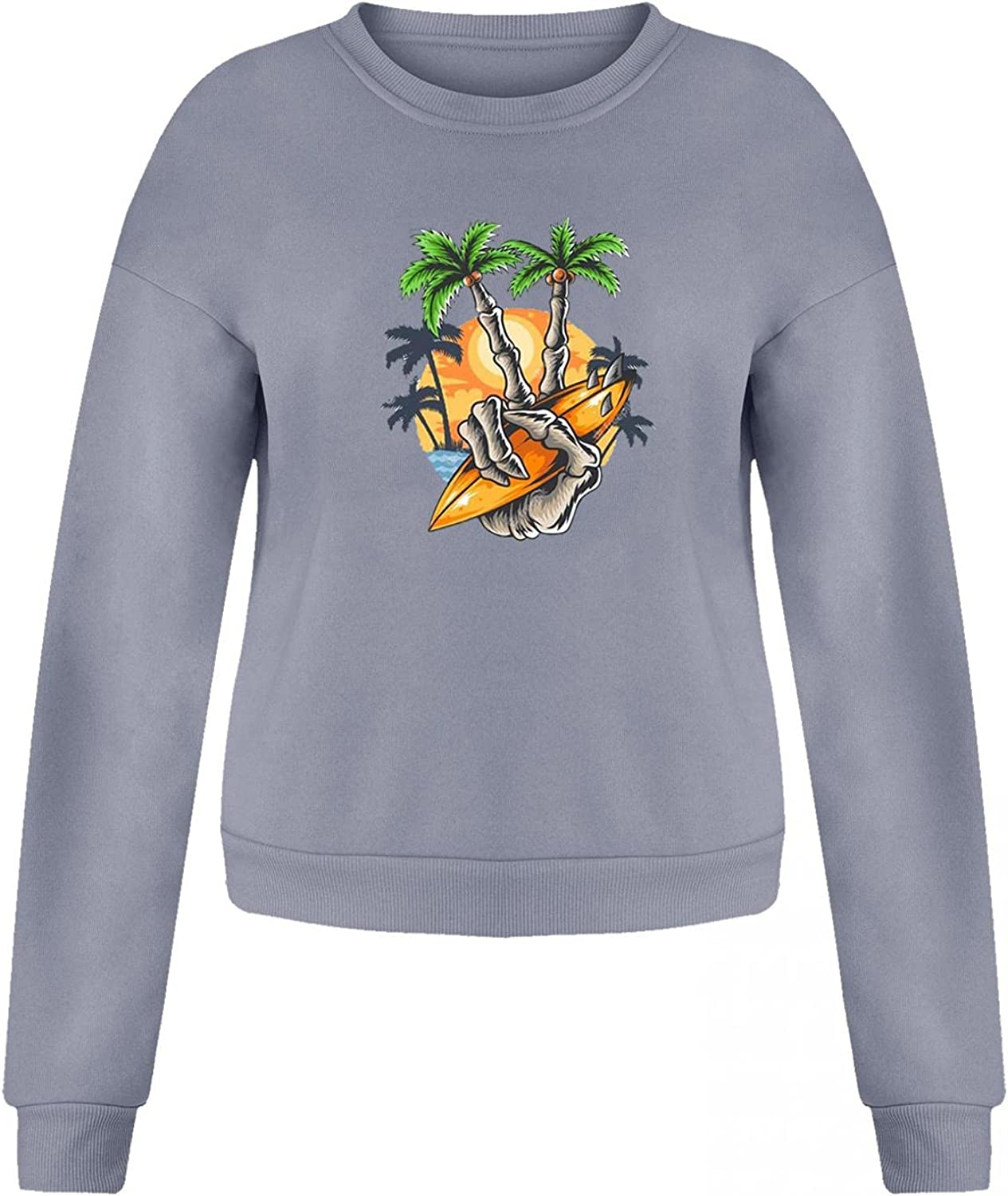 Jaqqra Halloween Sweatshirts for Women Casual Long sleeve Vintage Printed Fesitival Sweaters Lightweight Pullover Tops